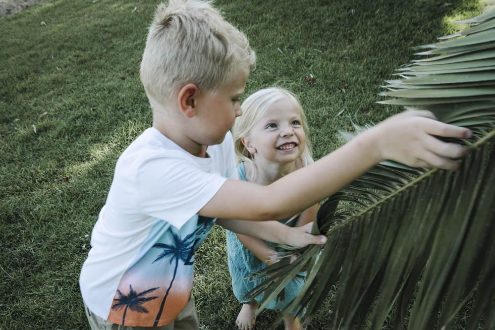 niños jugando con palmeras