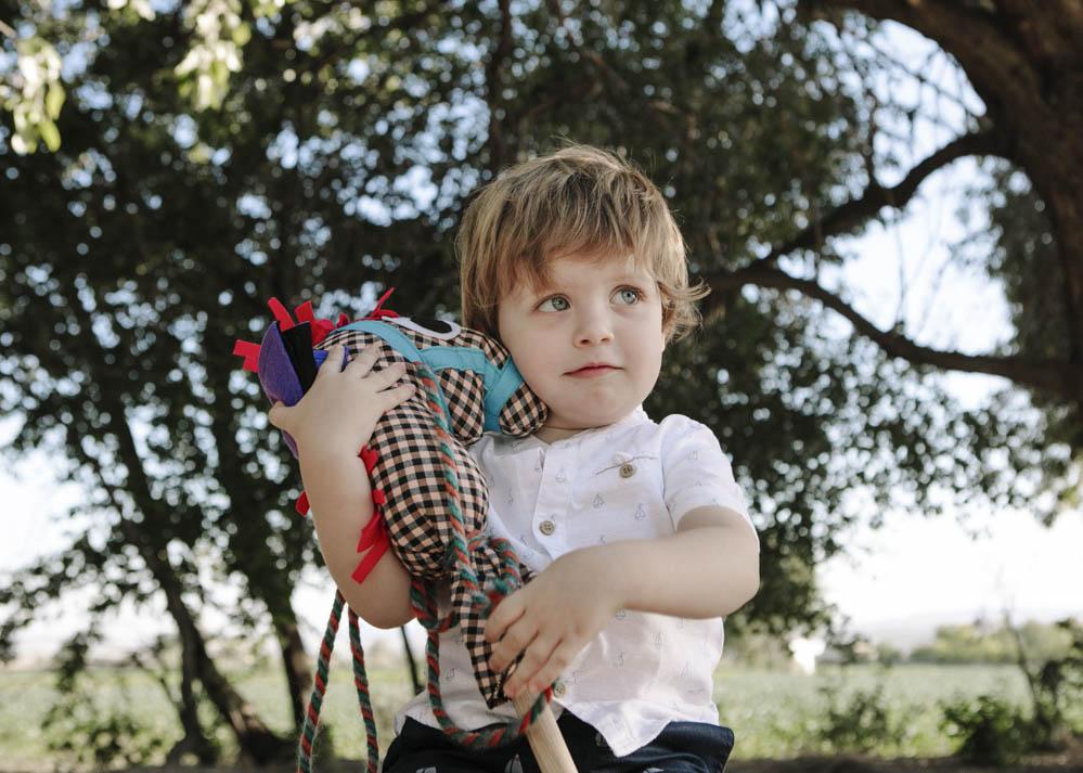 niño con caballito de palo