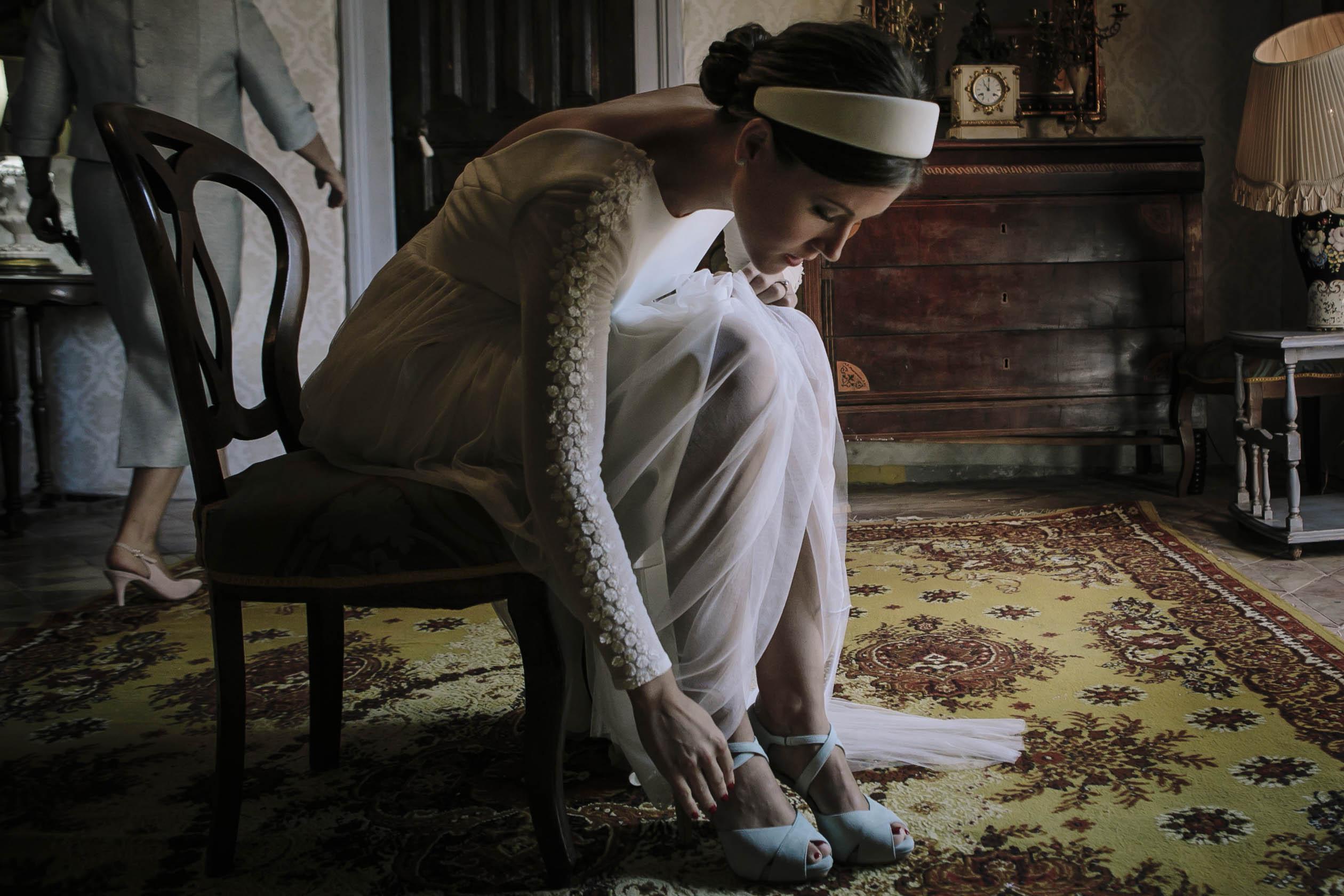 zapatos de novia azul claro