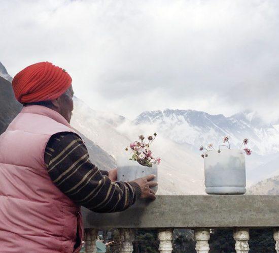 Hombre mirando al Everest